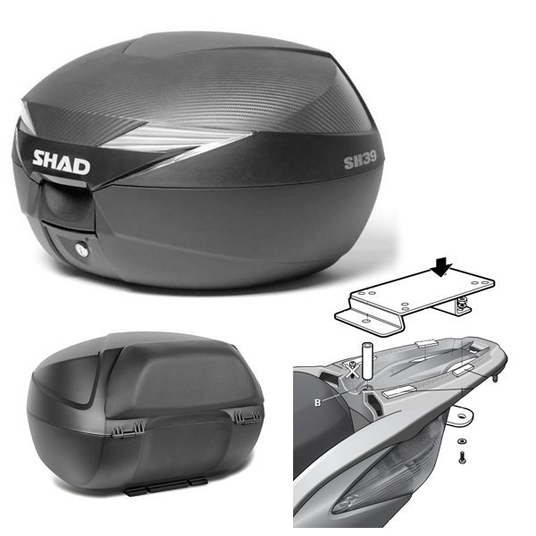 Baul Shad SH39 Honda SH125 con respaldo
