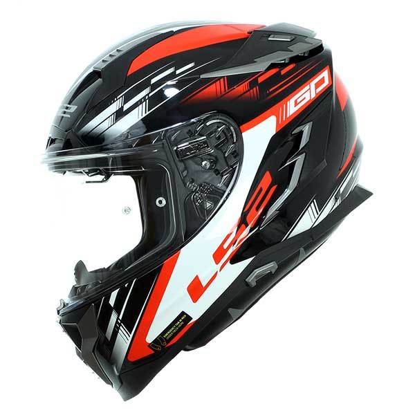 M LS2 Casco Moto FF327 Challenger GP negro rojo negrorojo